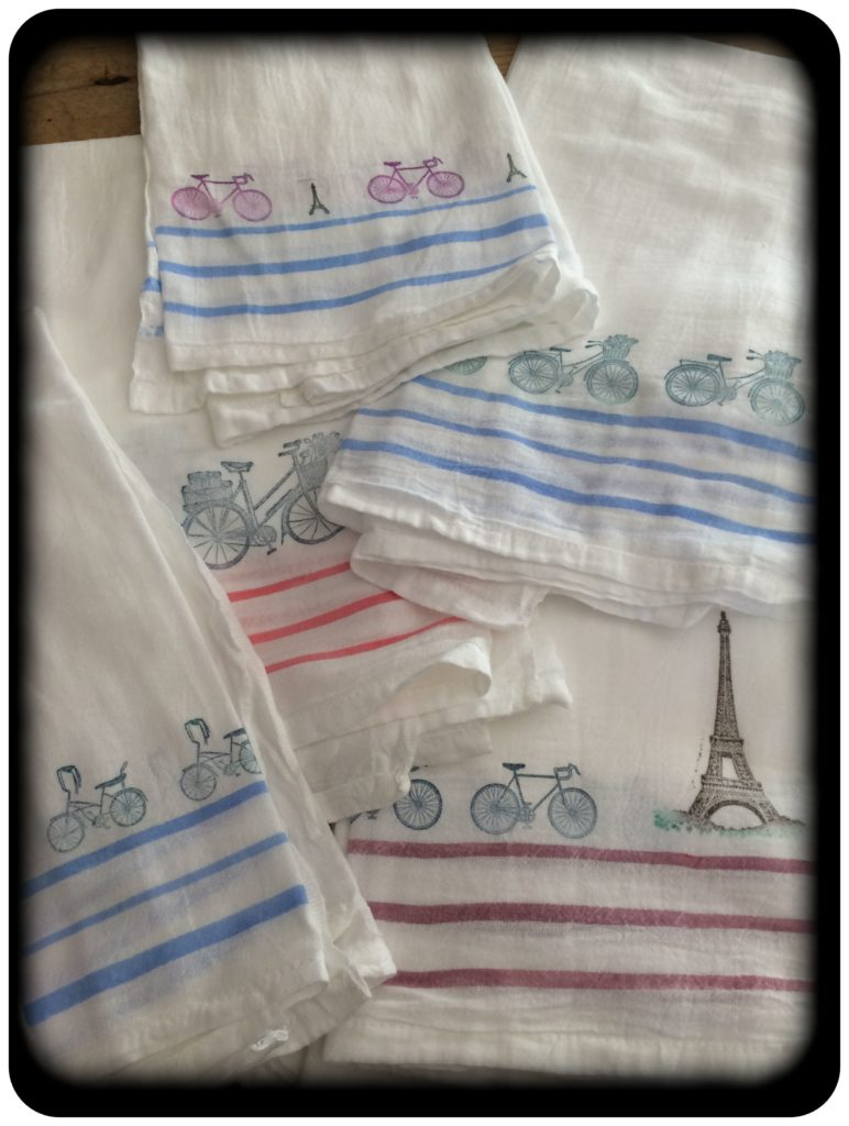 finished towels with bike stamps